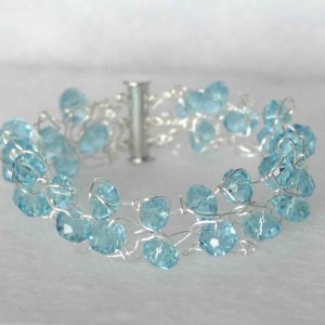 Silver Thunder Polish Knit Crystal Bracelet