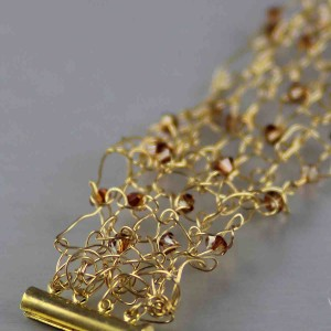 Gold Copper Swarovski Knit Bracelet