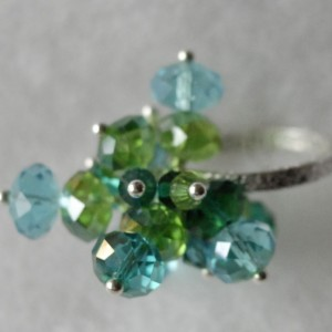 Blue Green Crystal Ring