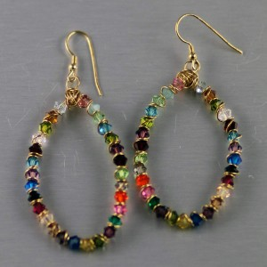 Multi Color Swarovski Wrapped Hoops