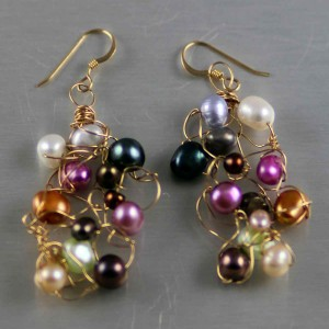 Gold Multi Pearl Knit Earrings