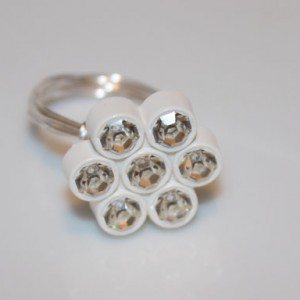 White Flower Swarovski Button Ring